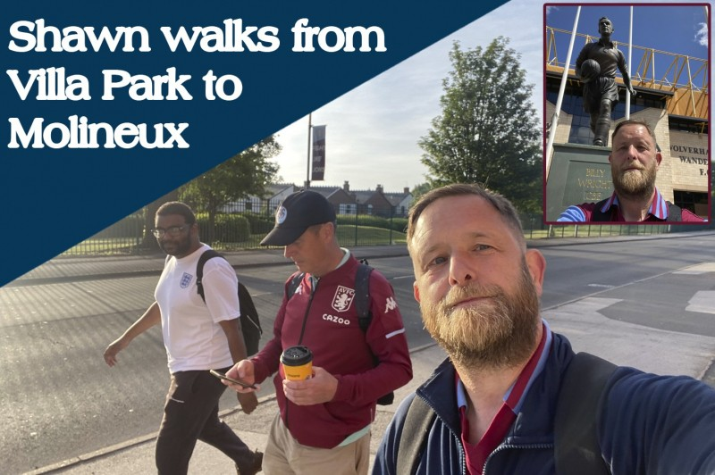 Shawn Chattaway completes walking from Villa Park to Molineux as part of a relay visiting the 92 English Football League grounds